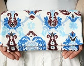 Tribal Clutch Handbag Patterned Purse in Blue, Brown and White Ikat Damask Print