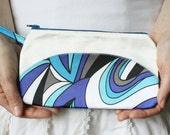 Small Clutch Small Wristlet Small Purse Small Pouch in  Mod Electric Blue, Royal Blue, Black and White Swirls - CLEARANCE SALE