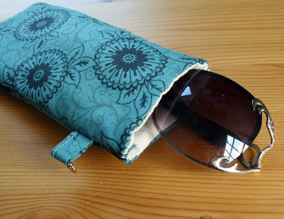 Sunglasses Case in Navy and Blue Green Floral READY to SHIP