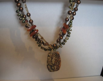 Falling for Autumn Triple Strand Necklace