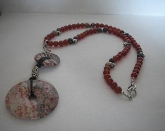 Leopard Skin Jasper & Carnelian Necklace