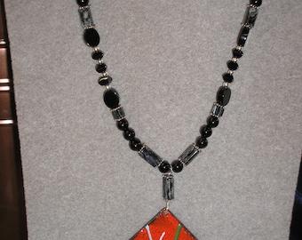 Red Enamel Pendant with Black Onyx