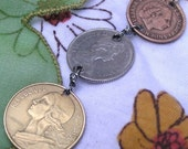 Tri Colored Foreign Coin Necklace Pendant - Queens