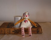 Tiny Cloth Doll Ragdoll & Embroidered Carrying Pouch Set HANDMADE Miniature Pocket Doll OOAK Anais