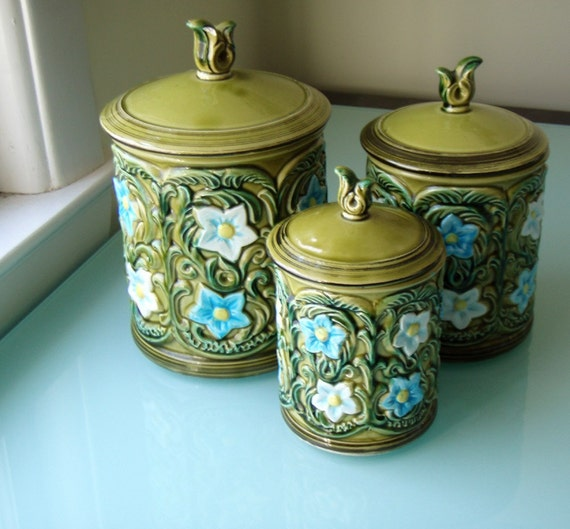 1970 geo z lefton ceramic kitchen canister set by