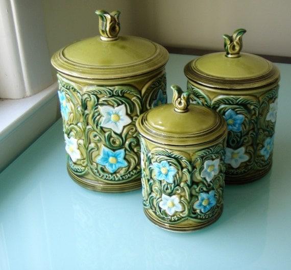 Blue Kitchen Canister Sets >> 1970 geo z. Lefton Ceramic Kitchen Canister Set