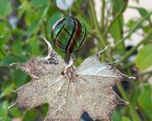 Silver Maple Electroplated Leaf with Murano Glass Bead Christmas Ornament