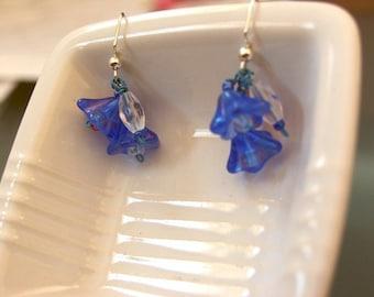 SALE Blue Glass Flower Earrings by Denise Sloan