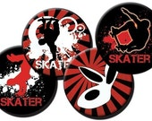 Skaters and Skulls collage sheet -1 inch circles/bottle cap images