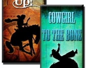 Cowgirl Sayings collage sheet - 1 inch x 2 inch - (2) Digital sheets
