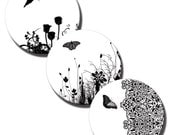 Nature in Black and White – 1 inch and 20mm circles - (2) Digital collage sheets