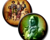 Native American Indians - 1.25 inch circles - (2) Digital collage sheets