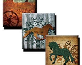 Western Theme collage sheet - .83 x .75 inches/ Scrabble Tile Size