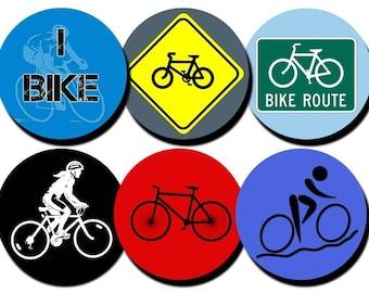 Bike Theme collage sheet - 1 inch circles/bottle cap images