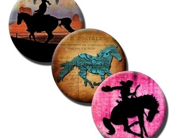 Simply Cowgirls collage sheet - 1 inch circles /25mm/bottle cap images