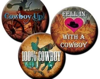 Cowboy Sayings collage sheet - 1 inch circles/bottle cap images