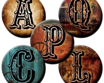 Southwestern Letters collage sheet -  1 inch circles - Etsy Auto Download