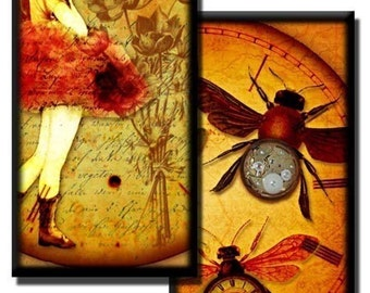 Vintage Steampunk collage sheet No2 - 1 inch x 2 inch/Domino size images