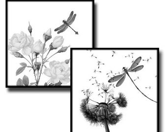 Dragonflies in Nature - 1 inch squares - Digital collage sheet