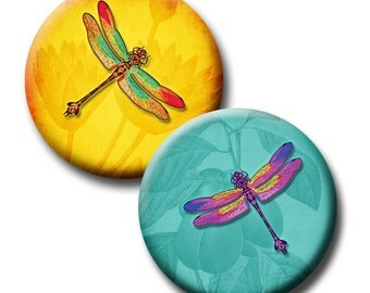 Rainbow of Dragonflies - 1 inch, 16mm and 18mm circles - (3) Digital Downloads