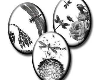 Dragonflies in Nature - 18mm x 25mm Ovals  - Digital collage sheet