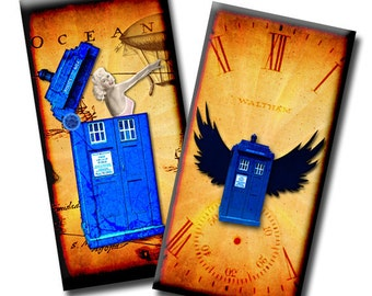 Flight of the Tardis No2 - 1 x 2 inches - Digital collage sheet