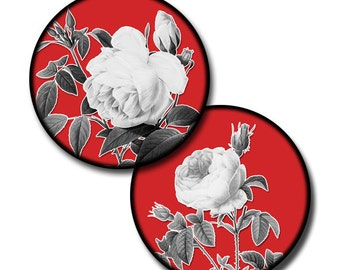 Black and White Flora on Red - 1 inch, 12mm, 14mm, and 16mm circles - (4) Digital sheets