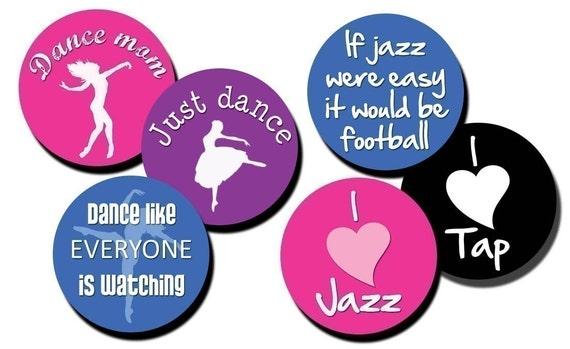 Dance Tap Jazz collage sheet - 1 inch circles/bottle cap images