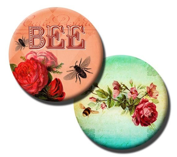 Busy Bee collage sheet  - 1 inch circles/25mm/bottle cap images