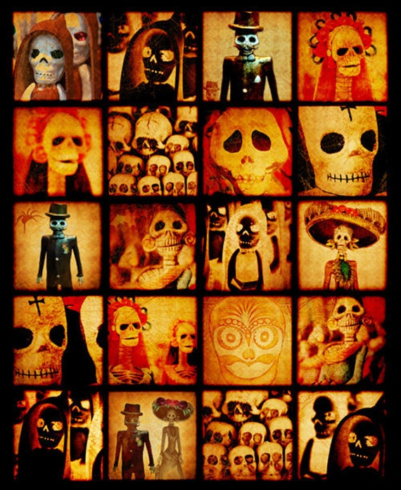 Spooky Calavera Skulls - Digital collage sheet - 2 and 1  inch squares