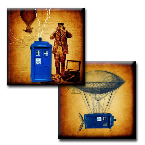 Flight of the Tardis - 1 inch squares - Digital collage sheet