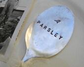 Vintage silverware Spoon Garden Marker. Parsley for your Herb Garden.