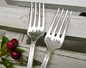 I Do Me Too Forks For Your Wedding Cake. Vintage Silver Plate.