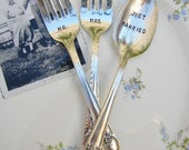 Mr. and Mrs. Wedding Fork and Spoon Set. Just Married Wedding Cake Silverware Set