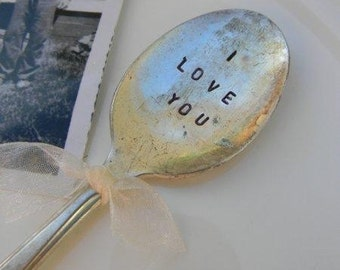 I Love You. Vintage Spoon Garden Marker