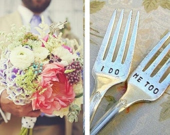 I Do Me Too  Wedding Fork Set. Featured In Martha Stewart Weddings May 2011