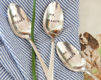 Hand Stamped Custom Spoons for your Holiday Table. Set of 6