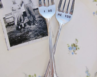 I Do Me Too Forks For Your Vintage Wedding Cake Cutting Dessert or Dinner