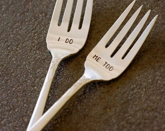 I Do Me Too or Mr Mrs Wedding Fork Set Featured on Style Me Pretty You Choose Wording