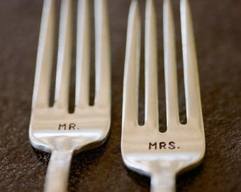 Mr Mrs Wedding Fork Set Hand Stamped Vintage Flatware Featured on Style Me Pretty 3.2012