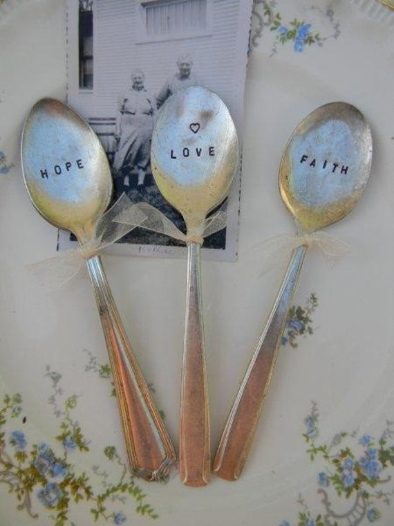 Stamped Spoon Garden Markers. Custom Made. YOU CHOOSE 3