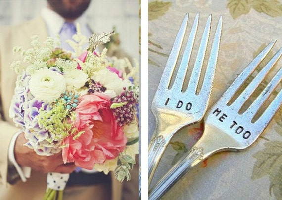 I Do. Me Too. Vintage Wedding Fork Set. Featured In Martha Stewart Weddings May 2011