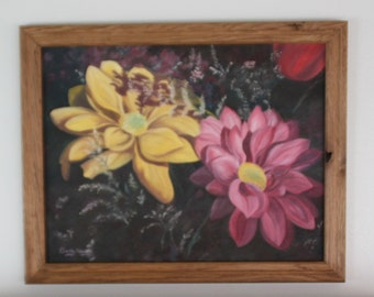 Original 14 X 18 inch oil painting of rich, colorful pink and yellow daisies is framed in handmade oak .