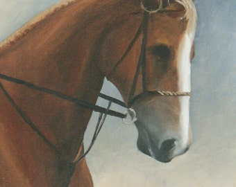 Oiginal Equestrian Painting, 10 X 20 inch Painting, Vertical Painting, Chestnut horse, Eventing Horse waiting his turn, Finger Lakes area