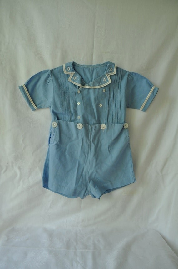 Darling Light Blue Vintage 1950s Toddler Two Piece Cotton Jumper Play Suit VALENTINES DAY SALE