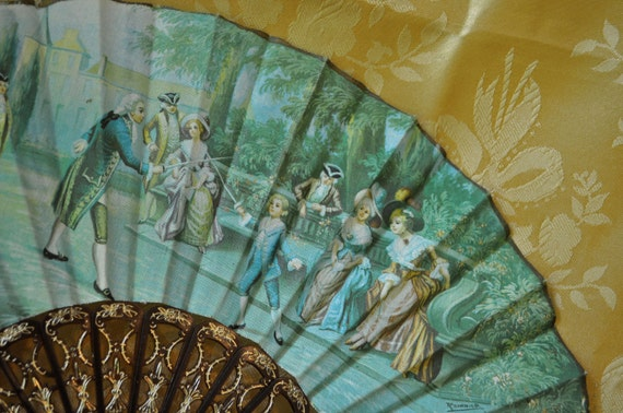 Charming Vintage 1950s Plastic Tortoiseshell Fan With Jade Green Fabric Fencing At Court