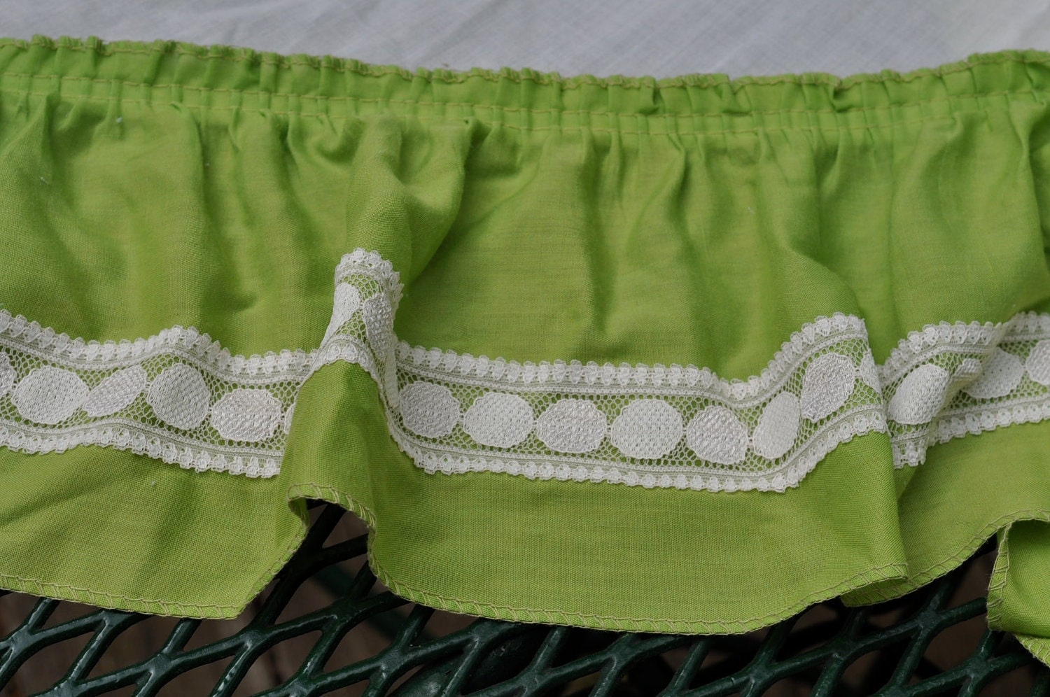 Vintage Kitchen Curtains One Pair Lime Green Ruffles