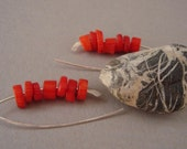 Red Coral Sterling Silver EARRINGS, Long Minimalist Hook Earrings