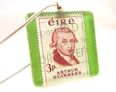 Irish Necklace. Vintage Postage Stamp featuring Arthur Guinness.