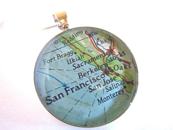 San Francisco, Berkeley, Monterey, California Vintage Map Necklace.